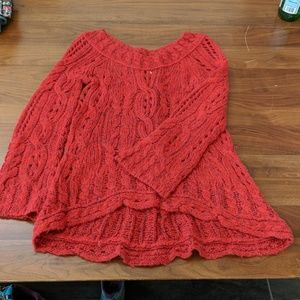 Free People wide neck red sweater